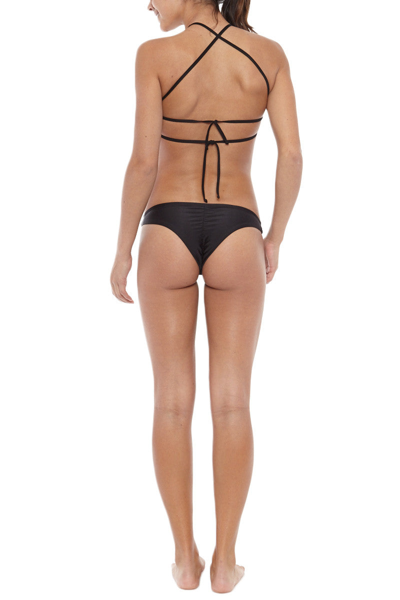 TOWERS SWIMWEAR Scrunch Cheeky Bikini Bottom - Black Bikini Bottom | Black| Towers Swimwear Scrunch Cheeky Bikini Bottom - Black Scrunch bottom Low rise  Cheeky coverage  Back View