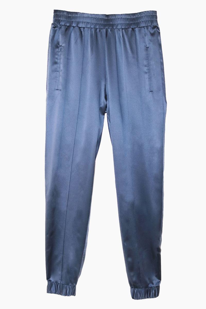 FLEUR DU MAL 100% Silk Jogger Track Pants - Caspian Blue Pants | Caspian Blue| Fleur Du Mal Track Pants - Caspian Blue 100% Silk Track Pants  Elastic Waist  Ankle Hemline  Side Pockets Front View