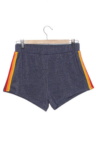 CAMP COLLECTION Track Star Shorts - Navy W/ Sunset Stripe Shorts | Navy W/ Sunset Stripe|CAMP COLLECTION Track Star Shorts - Runs true to size. Elastic waist fleece shorts Sunset stripe trim down sides.  Navy color