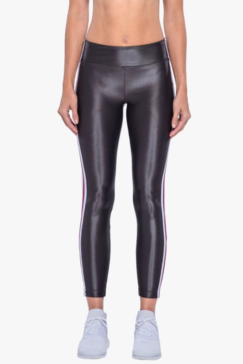 KORAL Trainer High Rise Leggings - Lead Leggings |  Lead| Koral Trainer High Rise Leggings - Lead. Features:   High Rise Leggings  Stripe Trim Detail at Sides Elastic Waistband Made in USA Front View