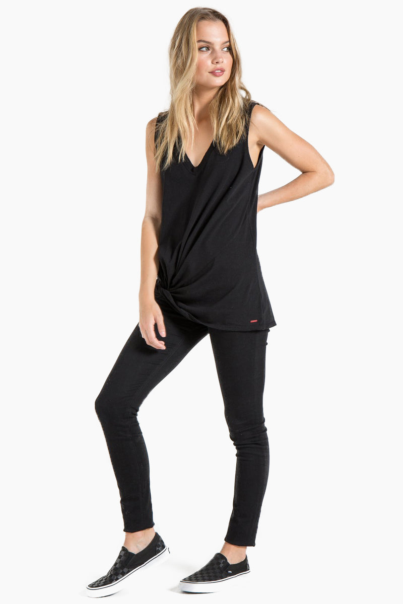 N:PHILANTHROPY Trap Twist Tank - Black Cat Top | Black Cat| N:PHILANTHROPY Trap Twist Tank - Black Cat. Features:  V neck tank top Twisted knot detail 100% cotton jersey Front View