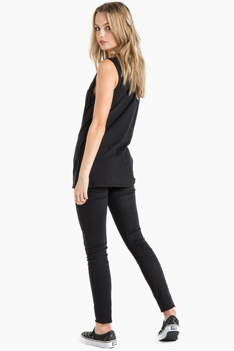 N:PHILANTHROPY Trap Twist Tank - Black Cat Top | Black Cat| N:PHILANTHROPY Trap Twist Tank - Black Cat. Features:  V neck tank top Twisted knot detail 100% cotton jersey Back View