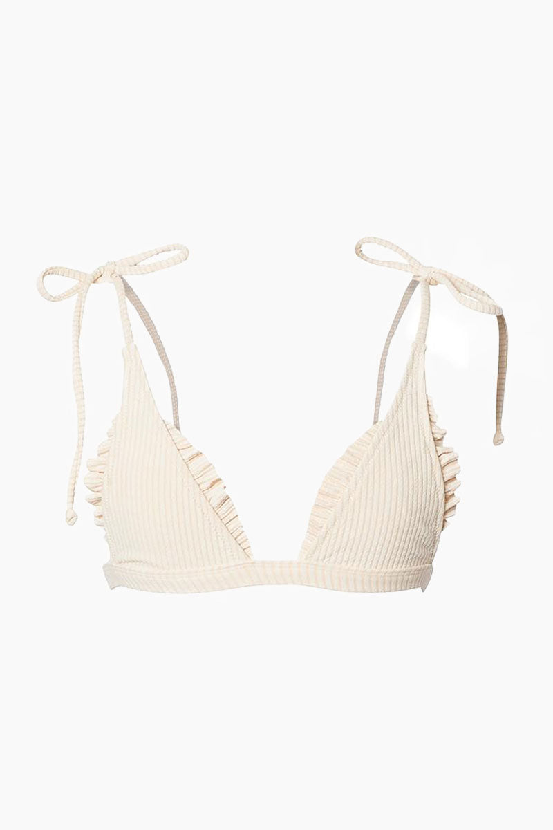 MADE BY DAWN Traveler Shoulder Tie Triangle Bikini Top - Blonde Rib Bikini Top | Blonde Rib| Made by Dawn Traveler Shoulder Tie Triangle Bikini Top - Blonde Rib. Features: Shoulder-tie triangle top Ruffle trim Back clasp in a tan ribbed jacquard fabric. 50% Mic-Nylon, 38% Nylon, 12% Spandex  Made in the USA Front View