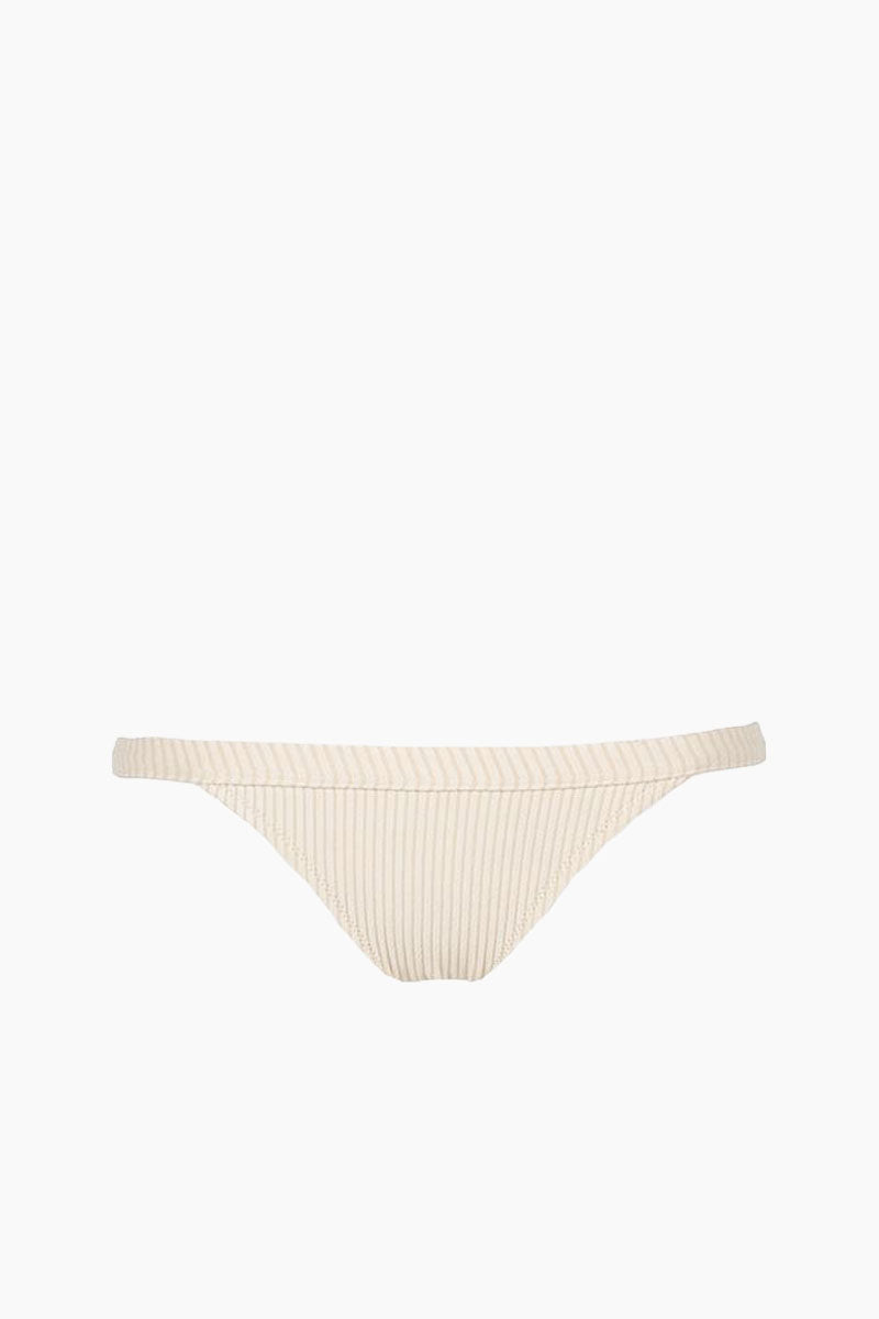 MADE BY DAWN Traveler Banded Low Rise Bikini Bottom - Blonde Rib Bikini Bottom | Blonde Rib| Made by Dawn Traveler Banded Low Rise Bikini Bottom - Blonde Rib. Features:  Fixed low rise bottom Banded waist in a tan ribbed jacquard fabric. 50% Mic-Nylon, 38% Nylon, 12% Spandex  Made in the USA Front View