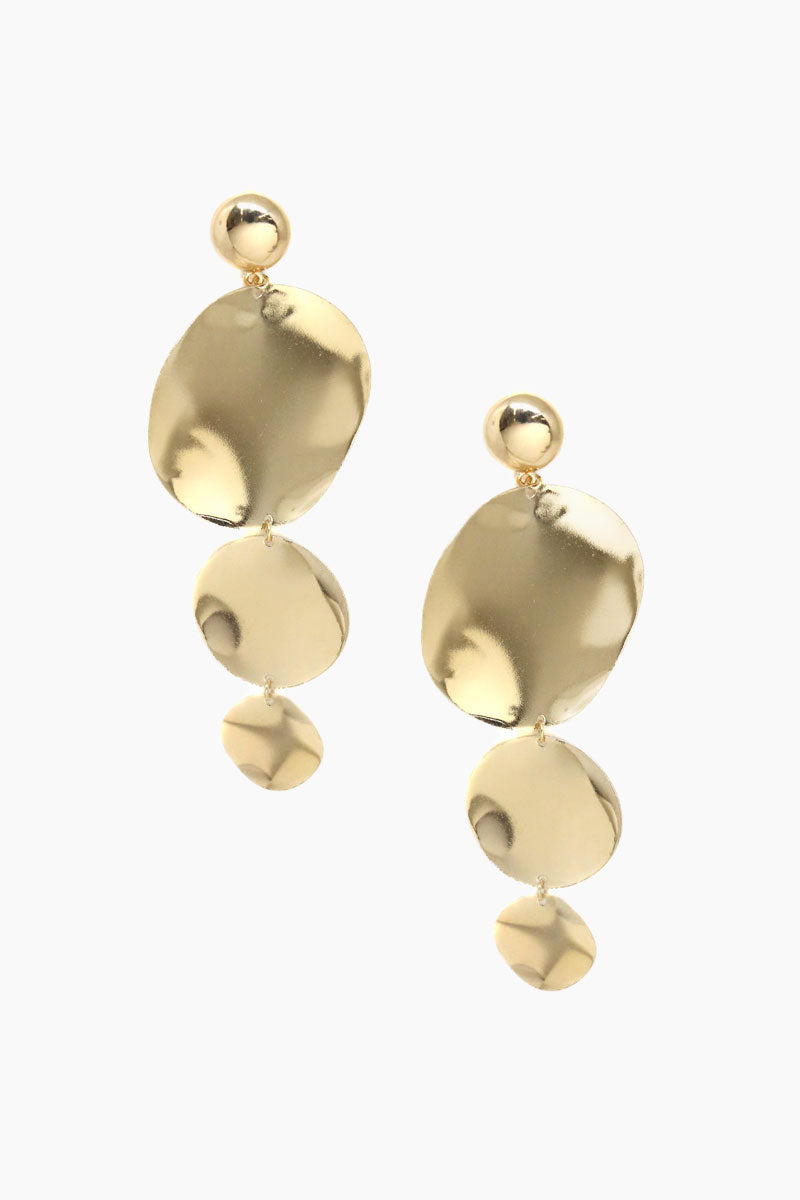 ETTIKA Tri Shape Drop Earrings - Gold Jewelry | Gold| Ettika Tri Shape Drop Earrings - Gold Full View Dangling Earrings 18kt Gold Plated Surgical Steel Posts Nickel Free Length: 4.75 Inches
