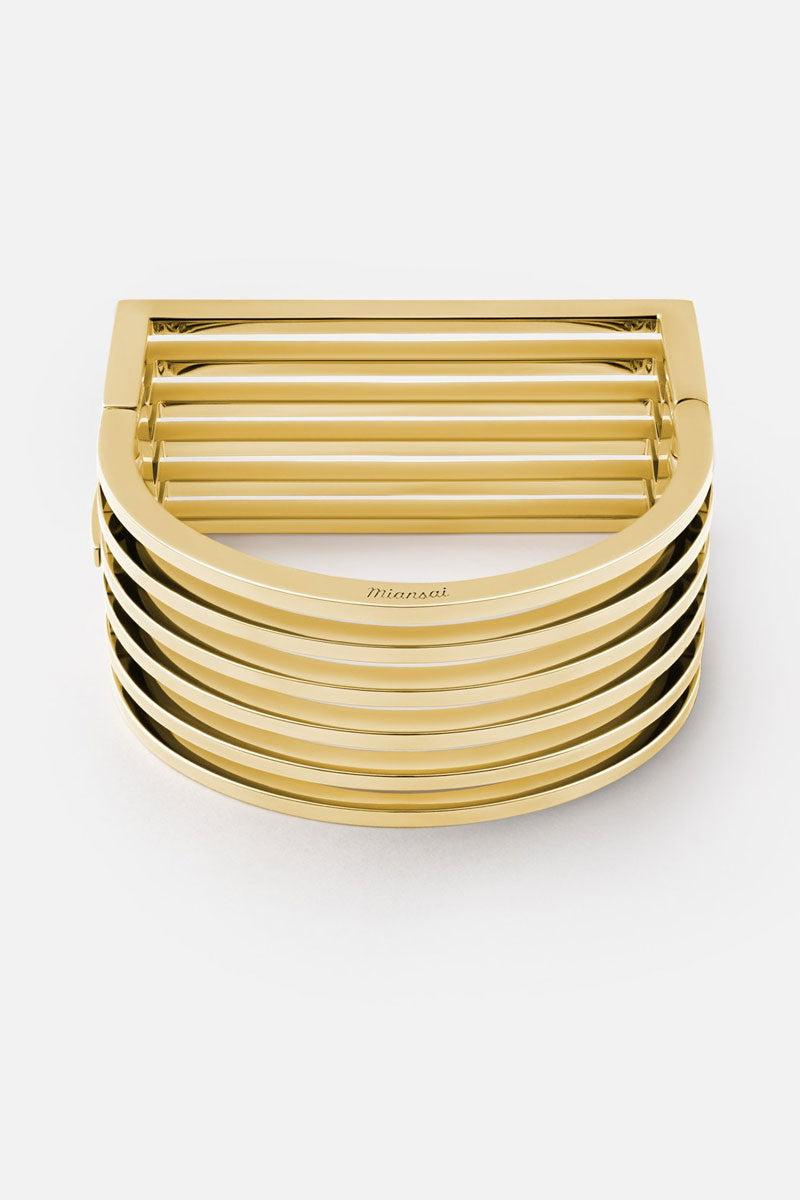 MIANSAI Triad Cuff - Gold Jewelry   Gold Miansai Triad cuff front view Timeless gold square multi-bar cuff bracelet.