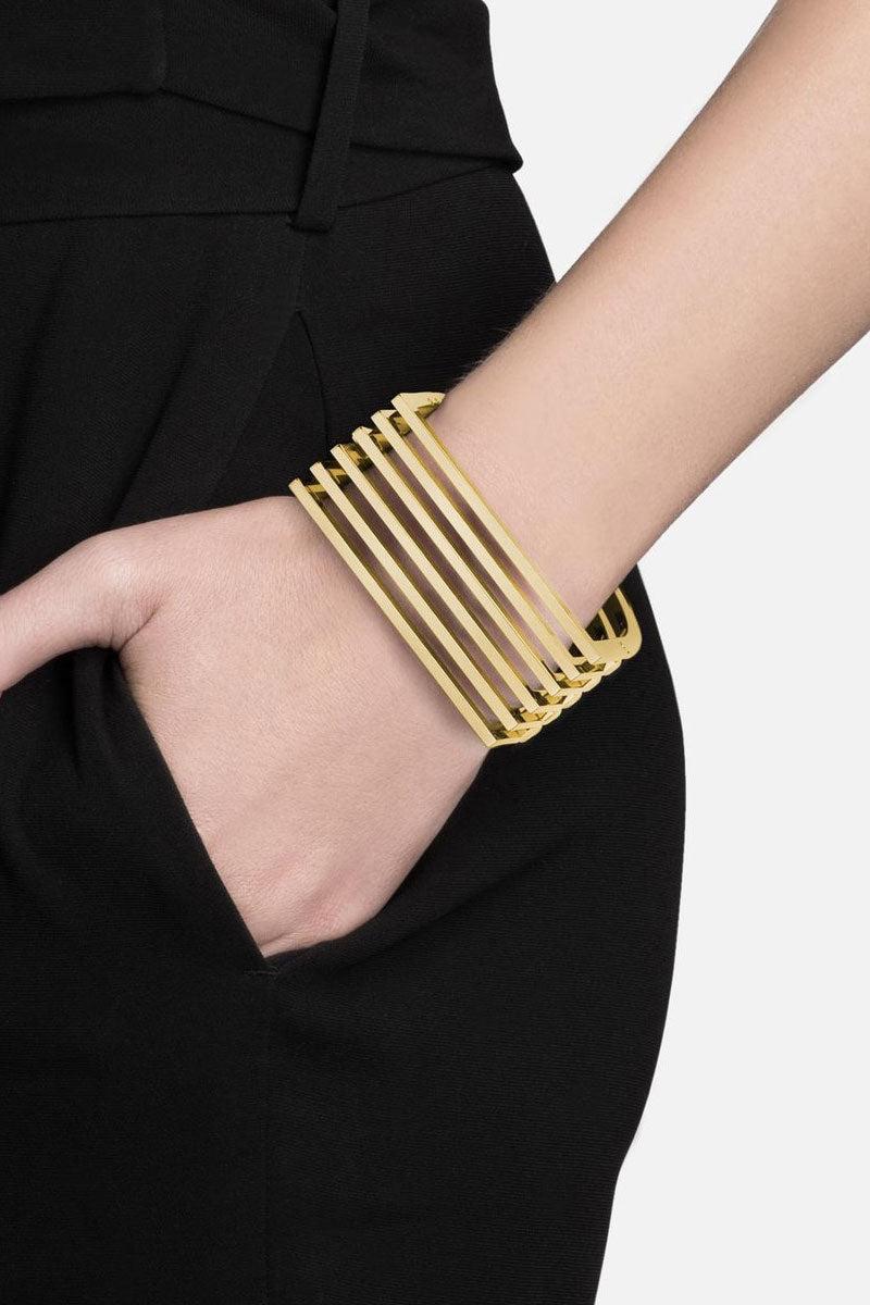 MIANSAI Triad Cuff - Gold Jewelry   Gold Miansai Triad cuff on model view Timeless gold square multi-bar cuff bracelet.