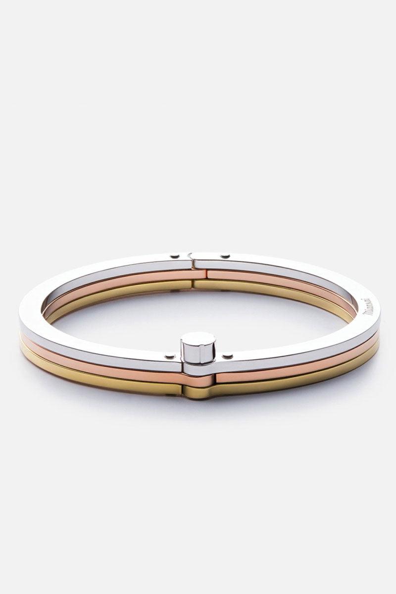 MIANSAI Tricolor Cuff - Gold Jewelry | Gold|Miansai Tricolor cuff front view Timeless gold, rose, and silver tone cuff bracelet.