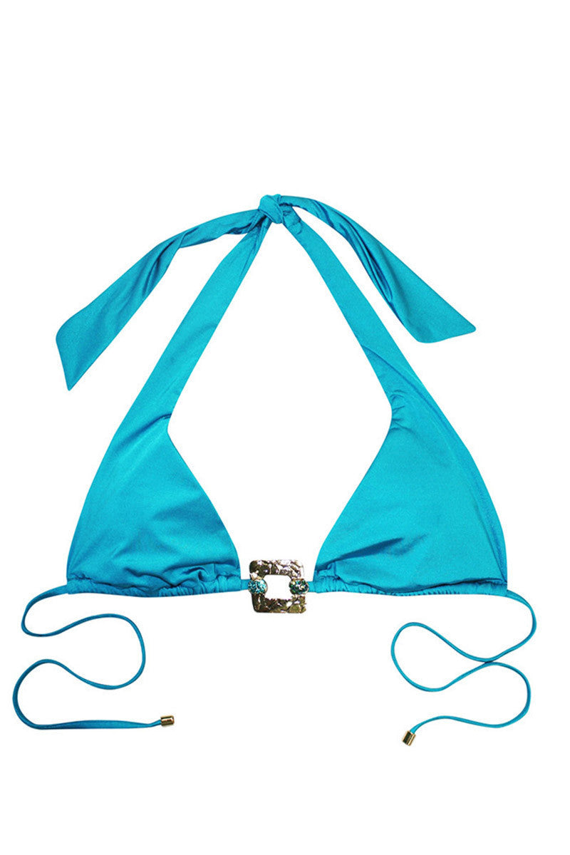 BEACH BUNNY Triple Crown Triangle Bikini Top - Capri Blue Bikini Top | Capri Blue| Beach Bunny Triple Crown Triangle Bikini Top - Capri Blue. Flat Lay View. Top ties at neck and back with rhinestone detailing. Lightly lined cups.