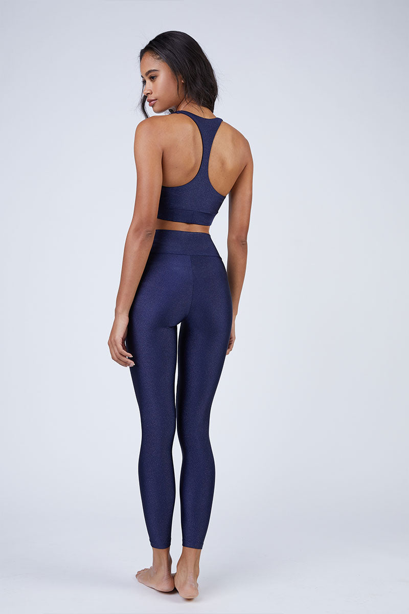 BEACH RIOT Twist Front Cut Out Racerback Sports Bra Top - Navy Top | Navy| Beach Riot Twist Front Cut Out Racerback Sports Bra Top - Navy Sports Bra Twist Front Detail  Racerback  Front Cut Out  Wide Bra Band  Back View