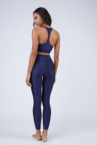 BEACH RIOT Aries High Rise V Waistband Yoga Leggings - Iridescent Navy Leggings | Iridescent Navy| Beach Riot Aries V Waistband Yoga Leggings - Iridescent Navy. Features: V Waistband Cut. High Waist. Sparkly Navy Fabric. View:  Back