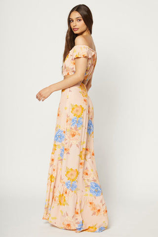 FLYNN SKYE Unbutton Me Maxi Skirt - Peony Dreams Skirt | Peony Dreams| Flynn Skye Unbutton Me Maxi Skirt - Peony Dreams Full-length skirt with a slit at the front  Vertical buttons with light pleats 100% Rayon Dry clean only Unlined Back View