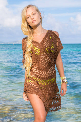 BIKINI.COM Crochet Cover Up Dress - Espresso Cover Up | Espresso|