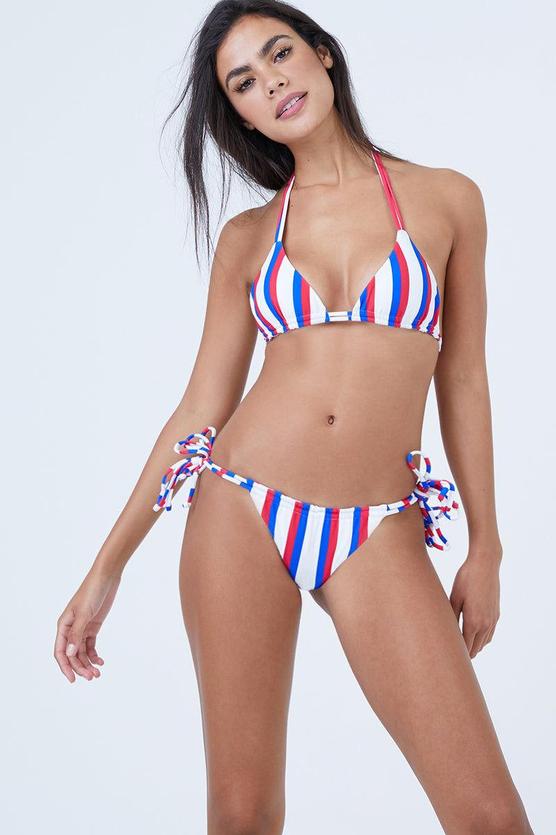 AILA BLUE Urchin Triangle Bikini Top - Americana Stripe Bikini Top   Americana Stripe  Aila Blue Urchin Triangle Bikini Top - Americana Stripe Triangle bikini top Dual adjustable straps at the neck and back Front View