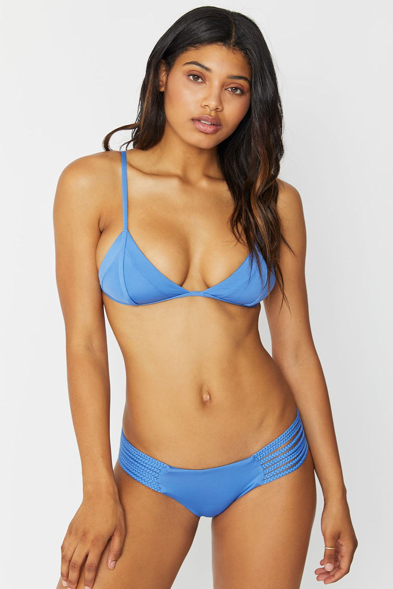 FRANKIES BIKINIS Valentina Bikini Bottom - Marine Bikini Bottom | Marine|Valentina Bikini Bottom - Features:  Blue cheeky bikini bottom Braided Side Accents Cheeky booty Coverage Bright blue color in Marine
