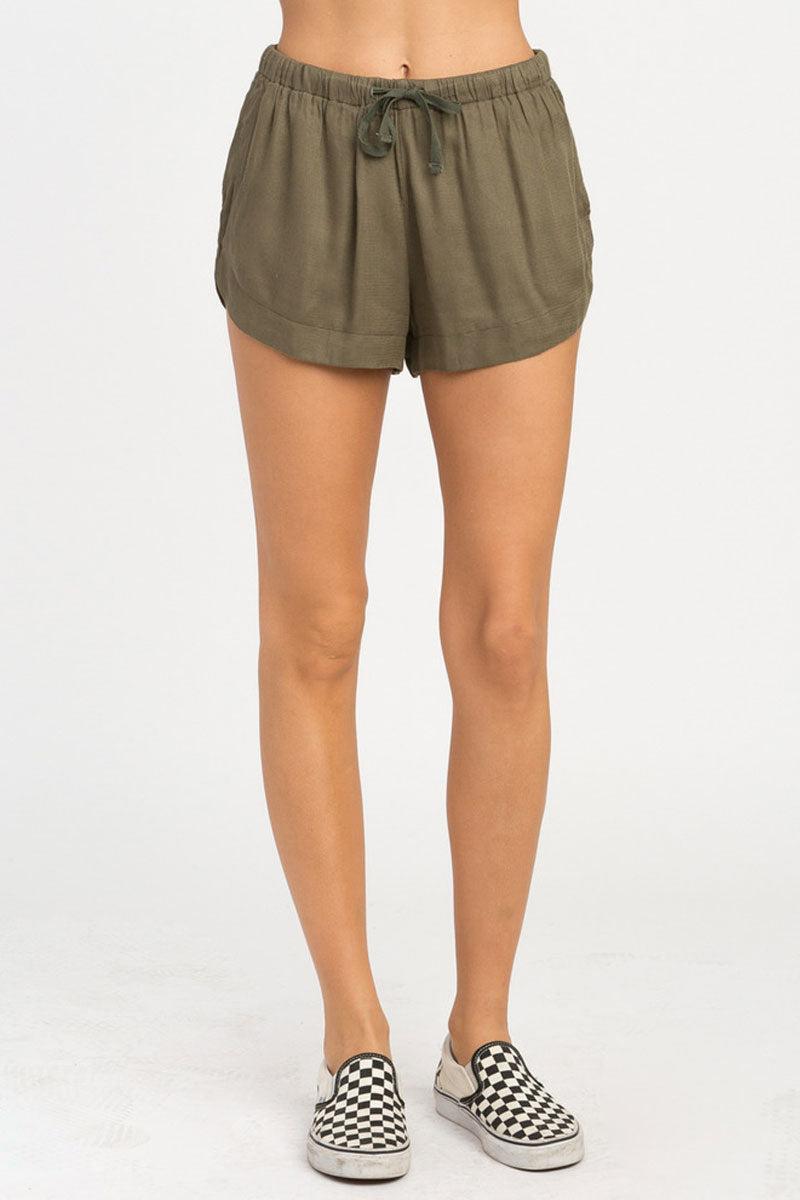 RVCA Vary Yume Elastic Shorts - Burnt Olive Shorts | Vary Yume Elastic Shorts - Burnt Olive