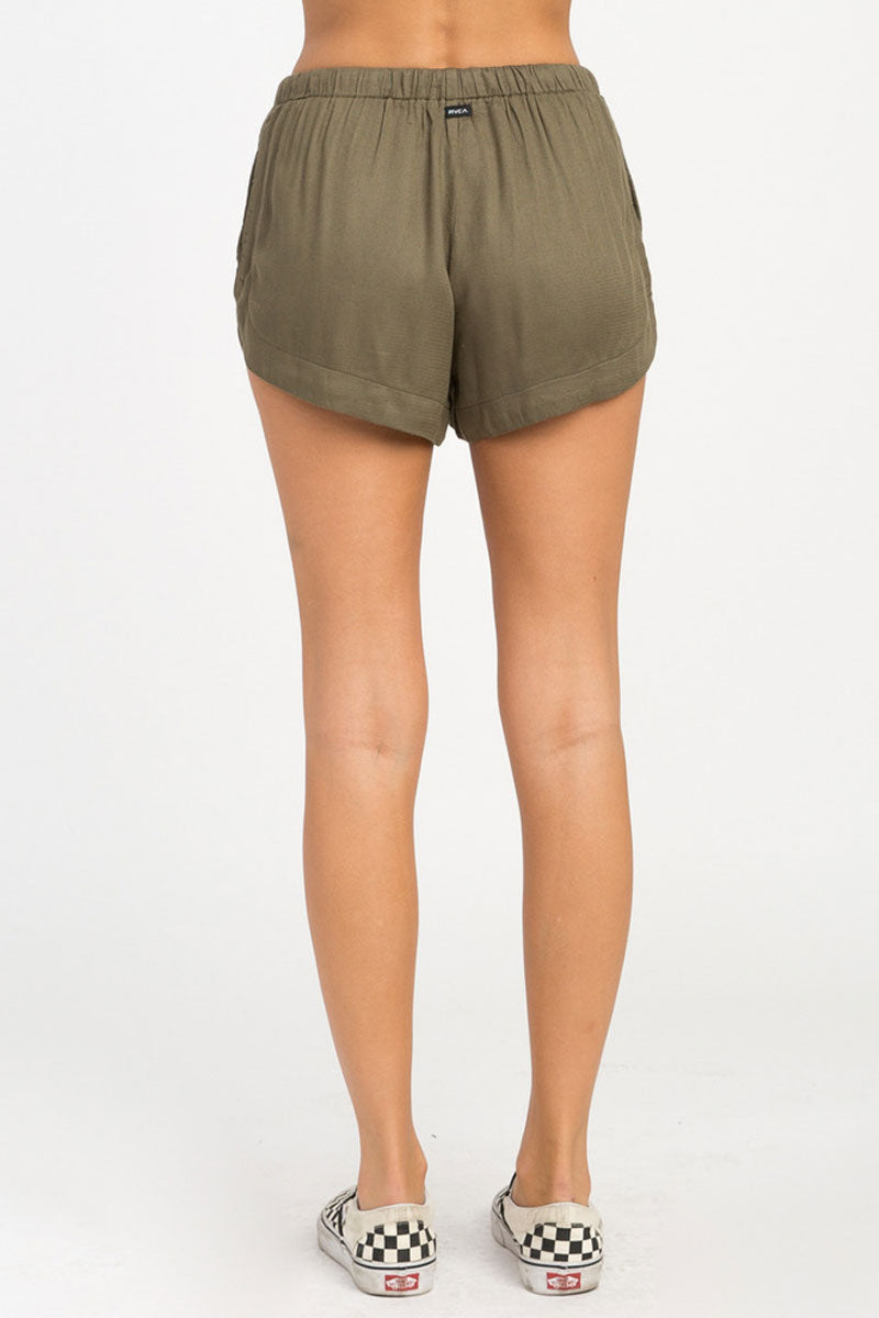 RVCA Vary Yume Elastic Shorts - Burnt Olive Shorts | Burnt Olive | RVCA Vary Yume Elastic Shorts - Burnt Olive Features:   Woven soft shorts Mid-rise silhouette Elastic waistband with a drawcord closure for the perfect fi Scalloped hemline On seam side pockets 100% rayon Back View