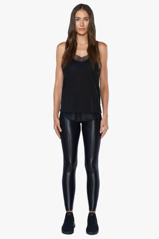 KORAL Villa Tencel Jersey Mesh Tank Top - Black Top | Black| Koral Villa Tank Top - Black. Features:  Relaxed fit tank Open mesh underlayer. Athleisure performance Made in USA Front View