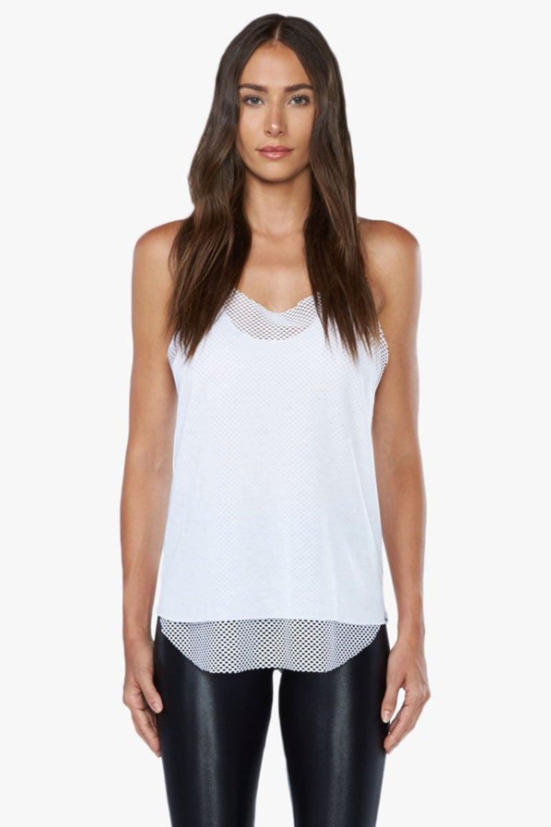 KORAL Villa Tencel Jersey Mesh Tank Top - White Top | White| Koral Villa Tank Top - White. Features:  Relaxed fit tank Open mesh underlayer. Athleisure performance Made in USA Front View