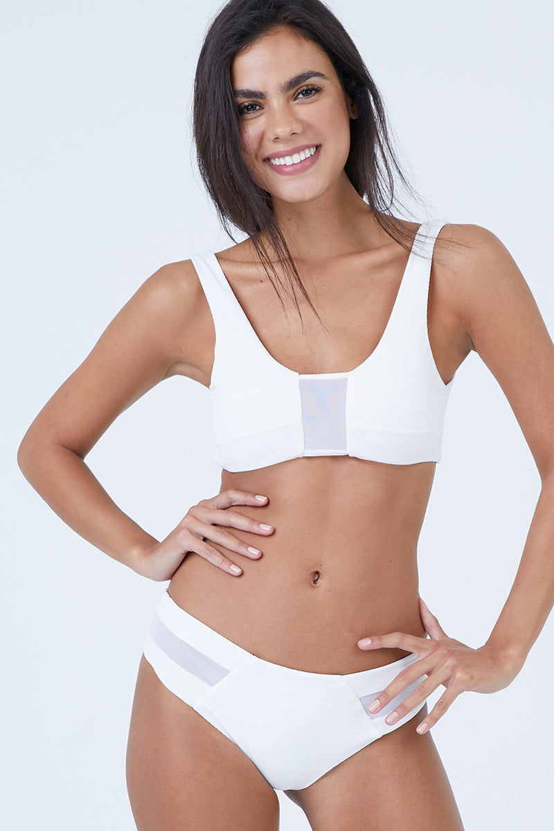 AILA BLUE Vision Mesh Bikini Top - White Waffle Bikini Top | White Waffle| Aila Blue Vision Mesh Bikini Top - White Waffle Scoop Neckline  Thick Shoulder Straps  Scoop Back  Mesh Panel Accents Front View