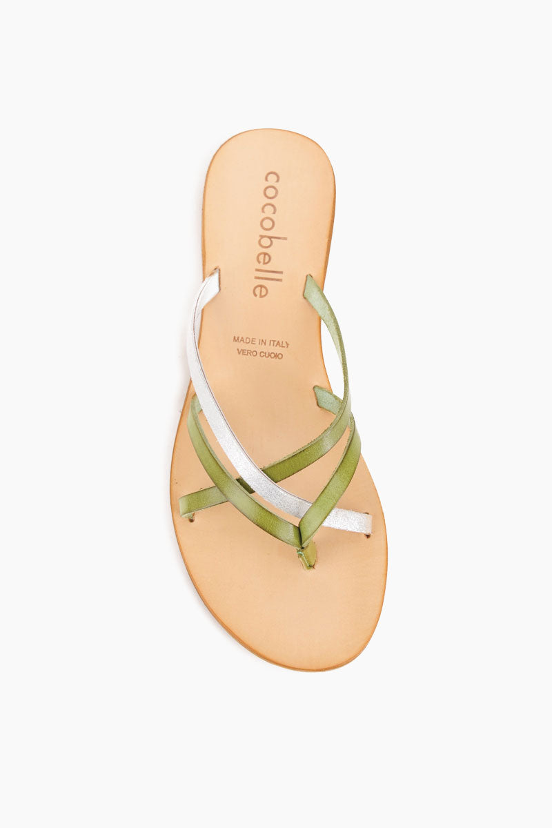 COCOBELLE Vivi Sandals - Olive Sandals | Olive| Cocobelle Vivi Sandals - Handmade in Italy, the Vivi sandal embodies the simplicity of the Mediterranean. Featuring a strappy thong construction this sandal was designed to see you through day to day life and your adventures beyond.    100% Leather  Handmade in Italy  Front View