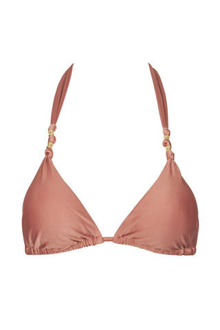 VIX SWIMWEAR Paula Knotted Triangle Bikini Top - Duchesse Pink Bikini Top | Duchesse Pink| Vix Swimwear Paula Knotted Triangle Bikini Top - Duchesse Pink * Classic triangle bikini top with beaded detail in dusty rose. * Adjustable cups can be scrunched up to expose more skin, or can be stretched out for a fuller coverage look. * Removable padding  Front View
