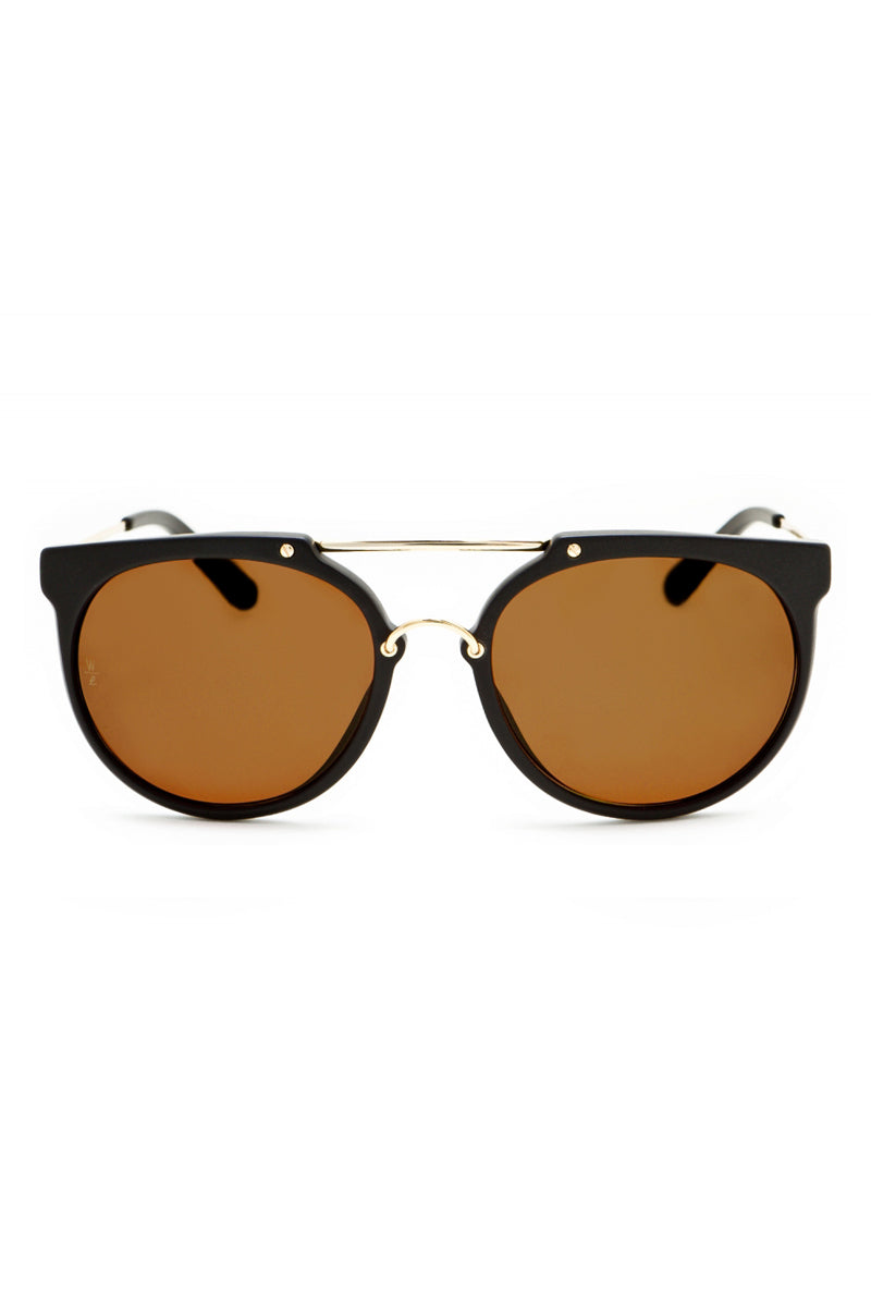 WONDERLAND SUNGLASSES Stateline Sunglasses - Matte Black/Bronze CZ Sunglasses | Matte Black/ Bronze| Wonderland Sunglasses Stateline Sunglasses - Matte Black/Bronze CZ Front View