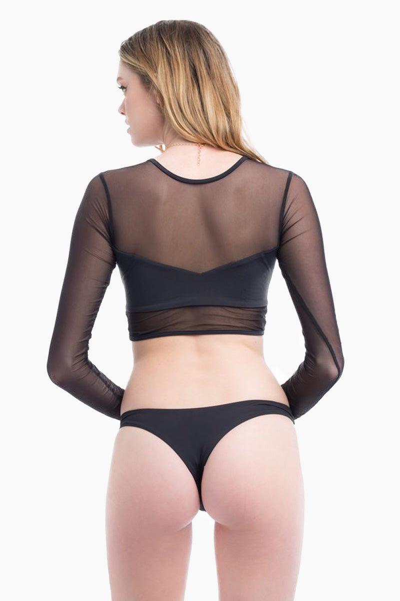 ELLE MER Waikiki Rashguard - Noir Bikini Top | Noir | ELLE MER Waikiki Rashguard Back View - Features:  Mesh Rashguard Built-in lined Bandeau Long sleeves Crop top style
