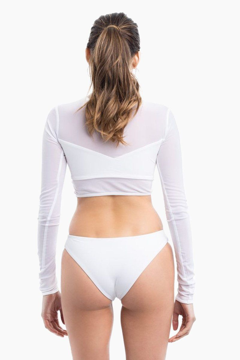 ELLE MER Waikiki Rashguard - White Mesh Bikini Top | White Mesh|ELLE MER Waikiki Rashguard Back View - Features:  Mesh Rashguard Built-in lined Bandeau Long sleeves Crop top style
