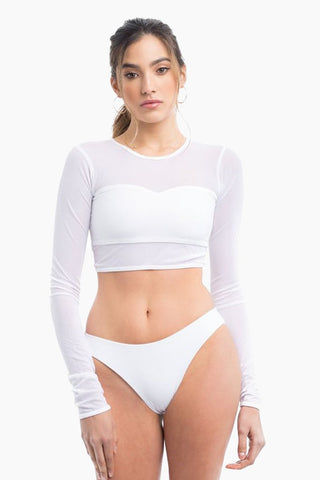ELLE MER Waikiki Rashguard - White Mesh Bikini Top | White Mesh|ELLE MER Waikiki Rashguard Front View - Features:  Mesh Rashguard Built-in lined Bandeau Long sleeves Crop top style