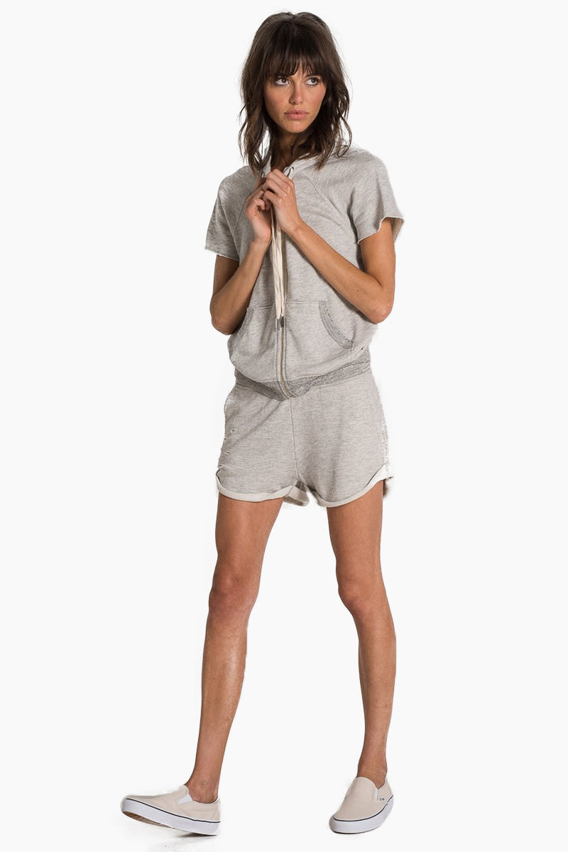 N:PHILANTHROPY Waldo Sweatshirt - Heather Grey Top   Heather Grey  N:PHILANTHROPY Waldo Sweatshirt - Heather Grey. Features:  Sweatshirt with short sleeves Raw edges Contrast drawstring tie Attached hood Front pockets French terry fabrication Front View