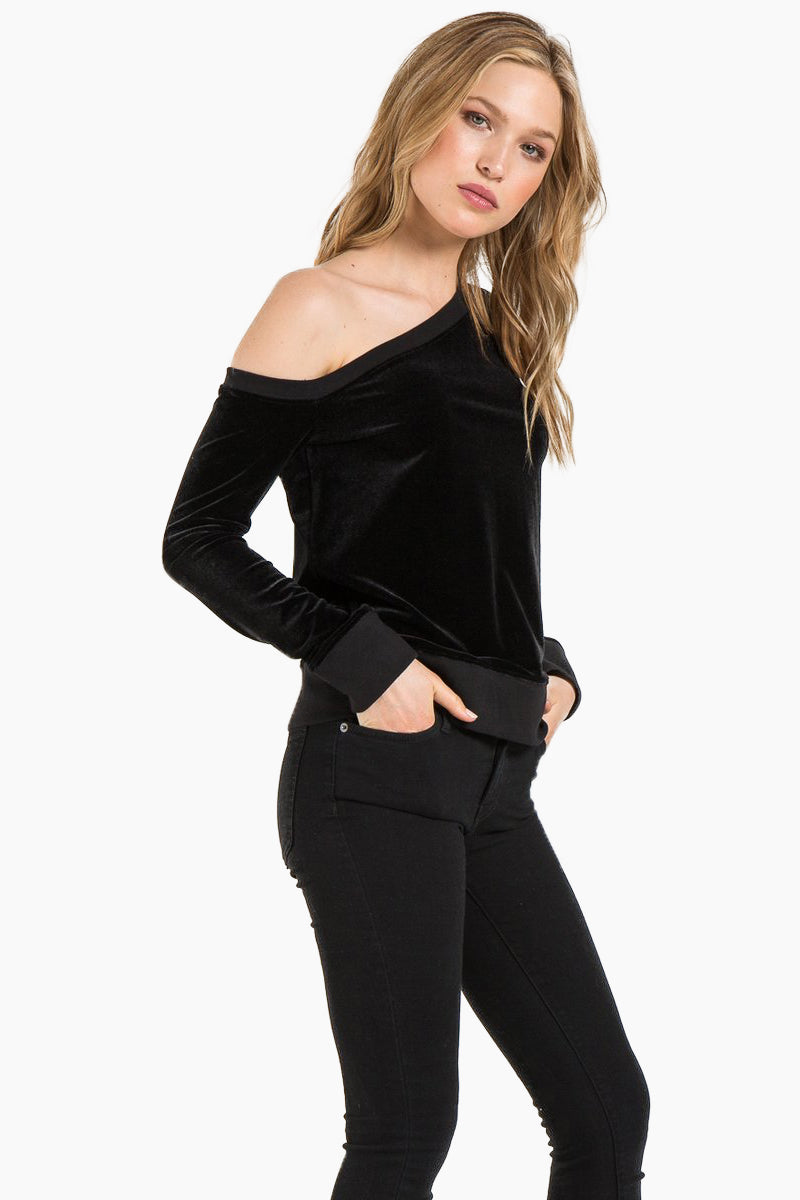 N:PHILANTHROPY Walker Sweatshirt - Black Cat Top | Black Cat| N:PHILANTHROPY Walker Sweatshirt - Black Cat. Features: Off-the-shoulder sweatshirt Wide neckline Classic banded trim French terry Heather Rayon 67% / Cotton 33% Rayon Front View