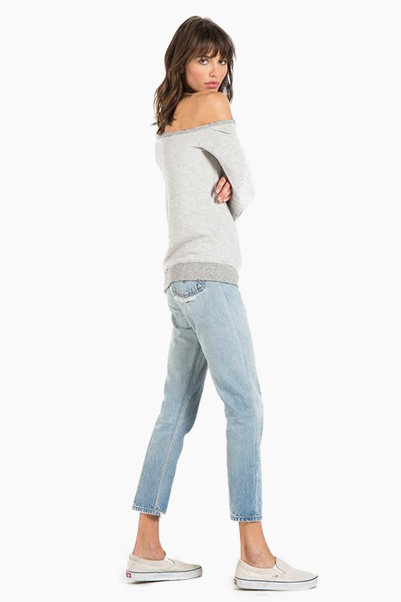 N:PHILANTHROPY Walker Sweatshirt - Heather Grey Top   Heather Grey  N:PHILANTHROPY Walker Sweatshirt - Heather Grey. Features: Off-the-shoulder sweatshirt Wide neckline Classic banded trim French terry Heather Rayon 67% / Cotton 33% Rayon Back View