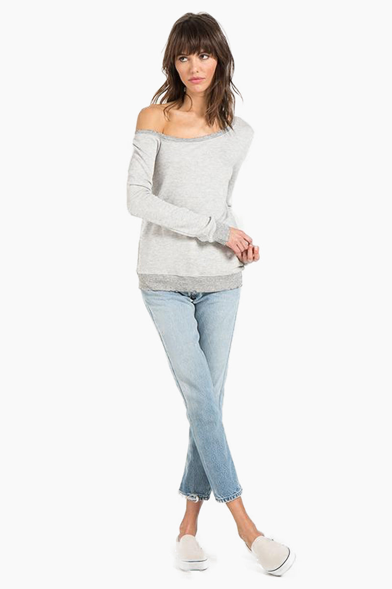 N:PHILANTHROPY Walker Sweatshirt - Heather Grey Top   Heather Grey  N:PHILANTHROPY Walker Sweatshirt - Heather Grey. Features: Off-the-shoulder sweatshirt Wide neckline Classic banded trim French terry Heather Rayon 67% / Cotton 33% Rayon Front View