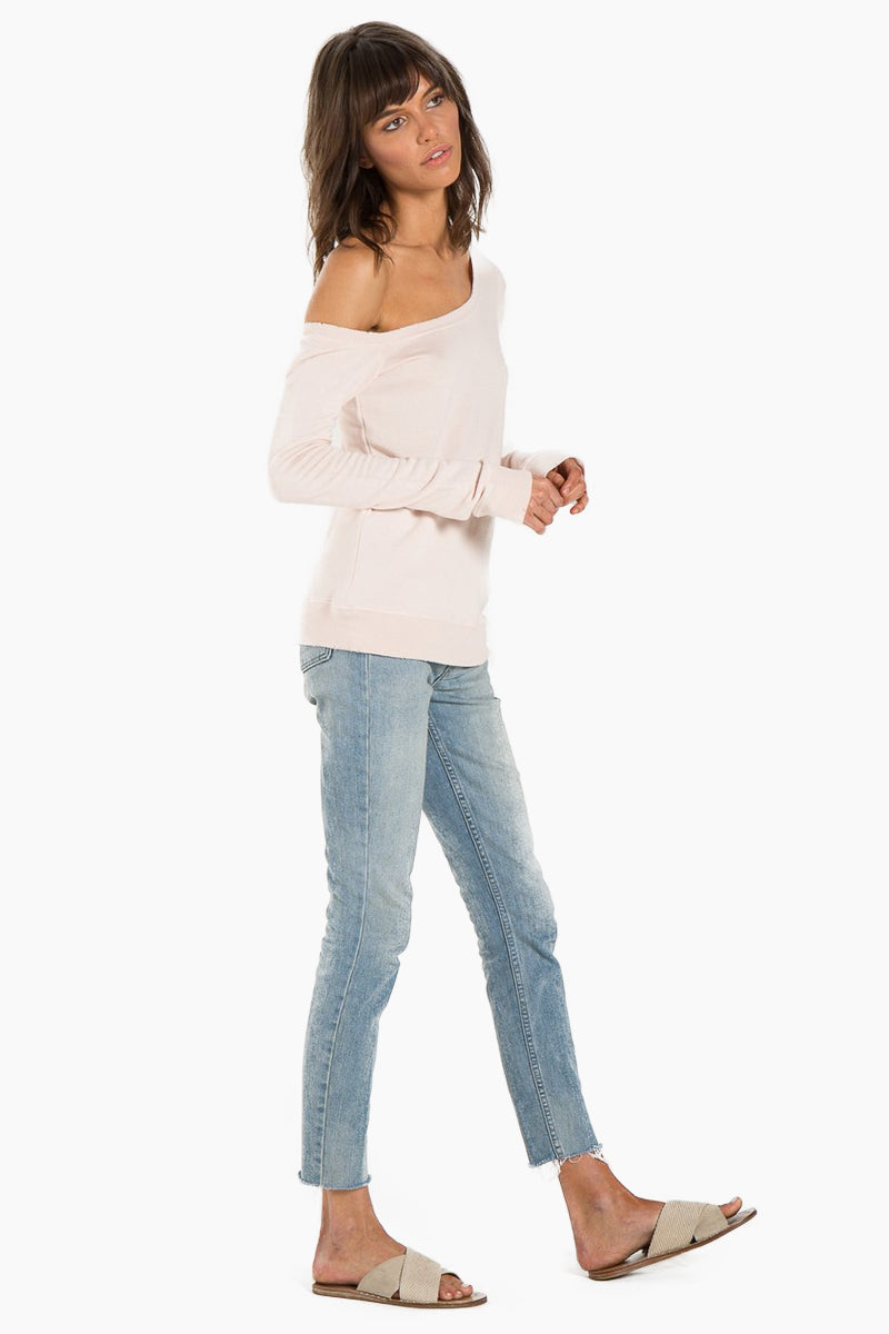 N:PHILANTHROPY Walker Sweatshirt - Petal Top | Petal| N:PHILANTHROPY Walker Sweatshirt - Petal. Features: Off-the-shoulder sweatshirt Wide neckline Classic banded trim French terry Heather Rayon 67% / Cotton 33% Rayon Front View