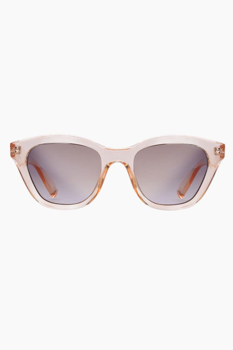LE SPECS Wannabae Sunglasses - Blonde Sunglasses   Blonde Wannabae -  Le Specs Angular Square Sunglasses Medium UV Protection Frame:  Blonde Lens: Smoke Grad Gold Flash Gender: Women Lens Width - Nose Bridge - Temple Length      49                  22                    140