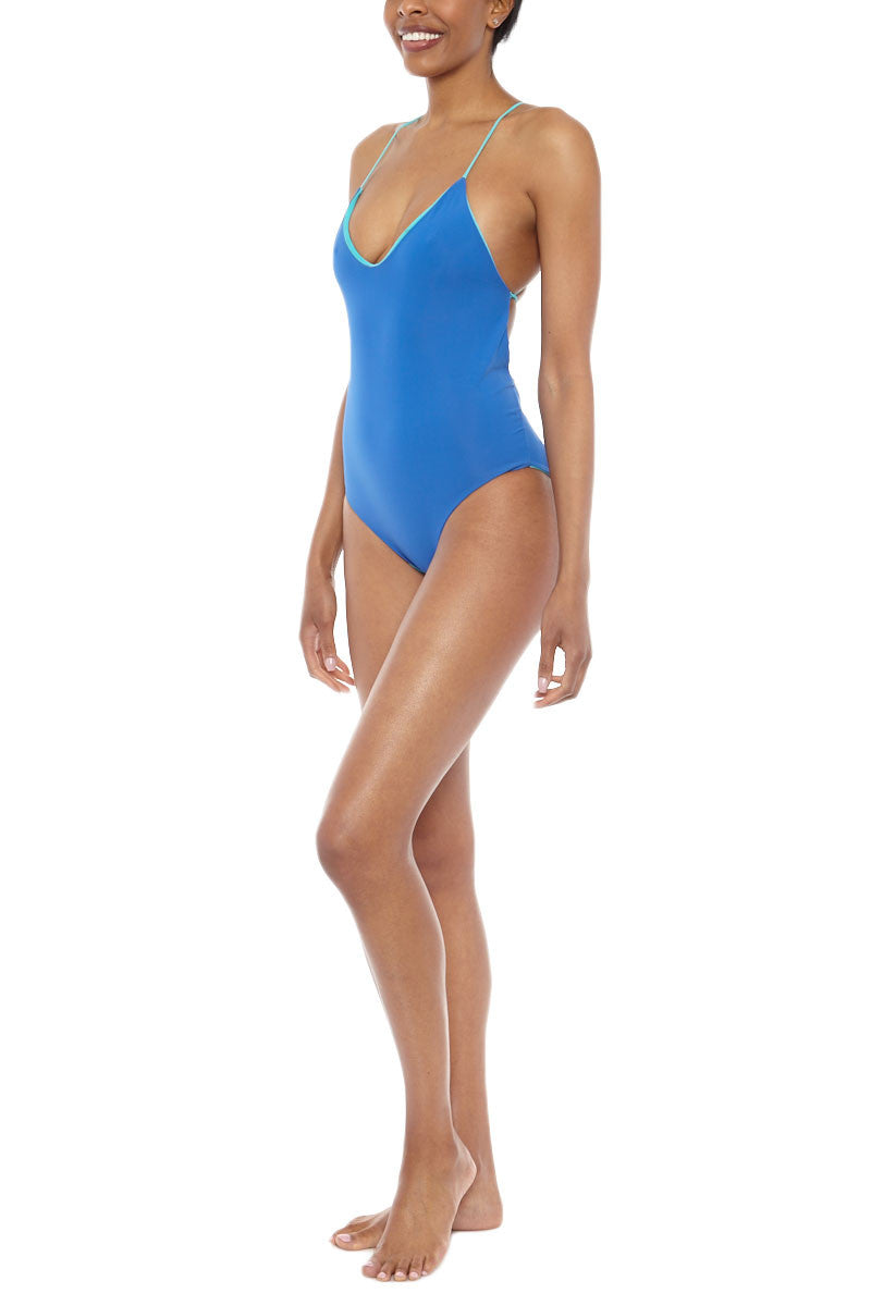 WATER GLAMOUR Chloe Reversible Criss Cross Back One Piece Swimsuit - Royal Blue/Turquoise Blue One Piece | Royal Blue/Turquoise Blue|Water Glamour  Chloe Reversible Criss Cross Back One Piece Swimsuit - Royal Blue/Turquoise Blue Low cut front Halter at top and ties in back Modest coverage 80% Nylon, 20% Spandex Front View