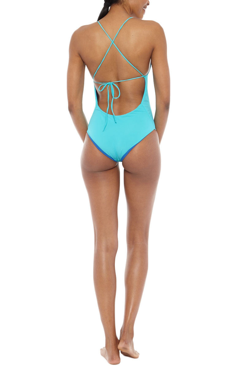 WATER GLAMOUR Chloe Reversible Criss Cross Back One Piece Swimsuit - Royal Blue/Turquoise Blue One Piece | Royal Blue/Turquoise Blue|Water Glamour  Chloe Reversible Criss Cross Back One Piece Swimsuit - Royal Blue/Turquoise Blue Low cut front Halter at top and ties in back Modest coverage 80% Nylon, 20% Spandex Back View
