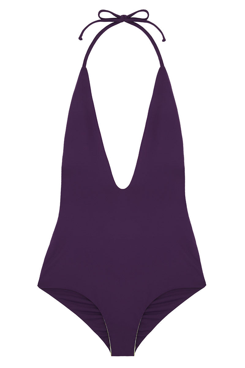 WATER GLAMOUR Deep V Reversible One Piece One Piece | Sunset/Aubergine|