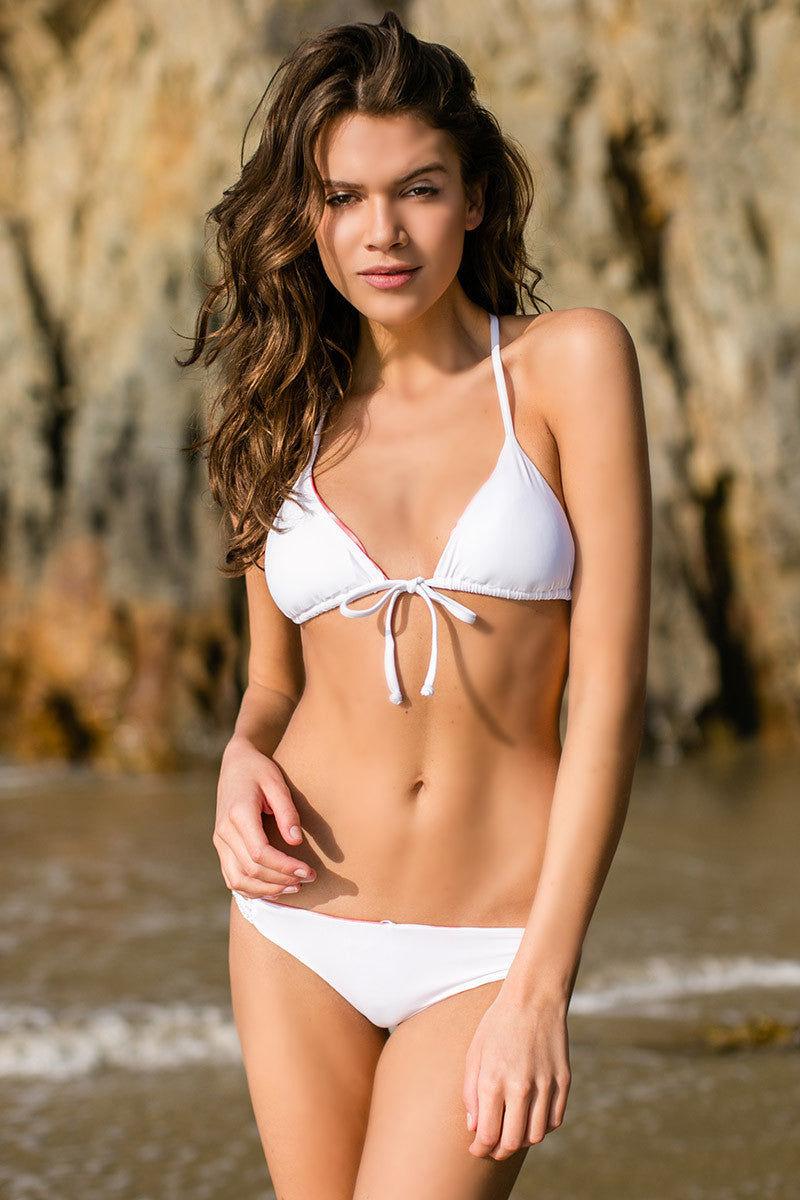 WATER GLAMOUR Elizabeth Crochet Reversible Brazilian Bottom Bikini Bottom | Coral Tie-Dye/White|Giannina
