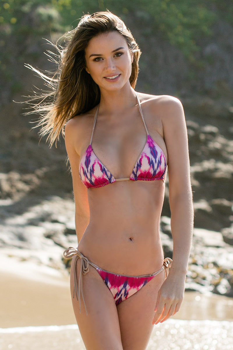 WATER GLAMOUR Inyo Braid Reversible Tie Side Bottom Bikini Bottom | Berry Tie-Dye/Nude|Talita