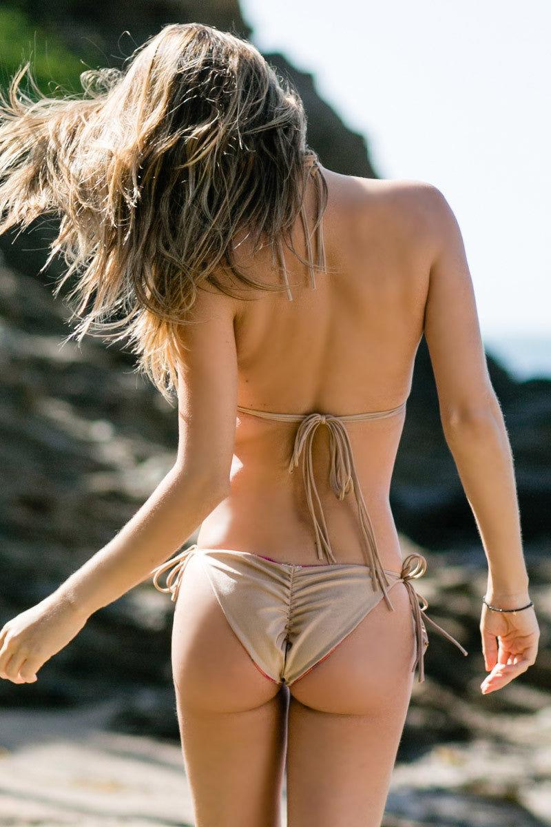 WATER GLAMOUR Inyo Braid Reversible Tie Side Bikini Bottom - Berry Tie-Dye Print/Nude Bikini Bottom | Berry Tie-Dye Print/Nude|Water Glamour Inyo Braid Reversible Tie Side Bikini Bottom - Berry Tie-Dye Print/Nude Moderate coverage Reversible Scrunch butt Side ties for adjustable fit Back View
