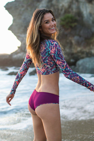 WATER GLAMOUR Jesse Reversible Hipster Bikini Bottom - Kaleidoscope Abstract Print/Berry Purple Bikini Bottom | Kaleidoscope Abstract Print/Berry Purple| Water Glamour Jesse Reversible Hipster Bikini Bottom - Kaleidoscope Abstract Print/Berry Purple Moderate Coverage Reversible Back View