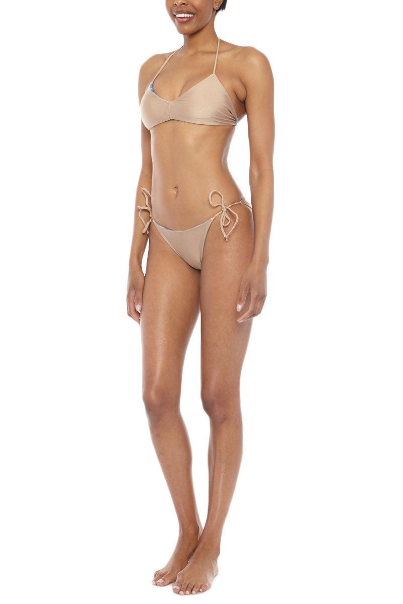 WATER GLAMOUR Printed Reversible Kira Braided Top Bikini Top   Electric Blue/Nude  Water Glamour Printed Reversible Kira Braided Bikini Top