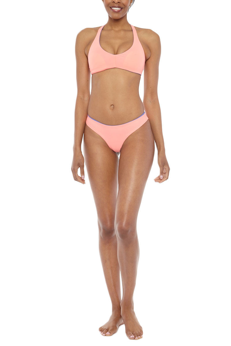 WATER GLAMOUR Skinny Jessie Reversible Cheeky Bottom Bikini Bottom | Sadona Blue/Coral| Water Glamour Skinny Jessie Reversible Cheeky Bikini Bottom