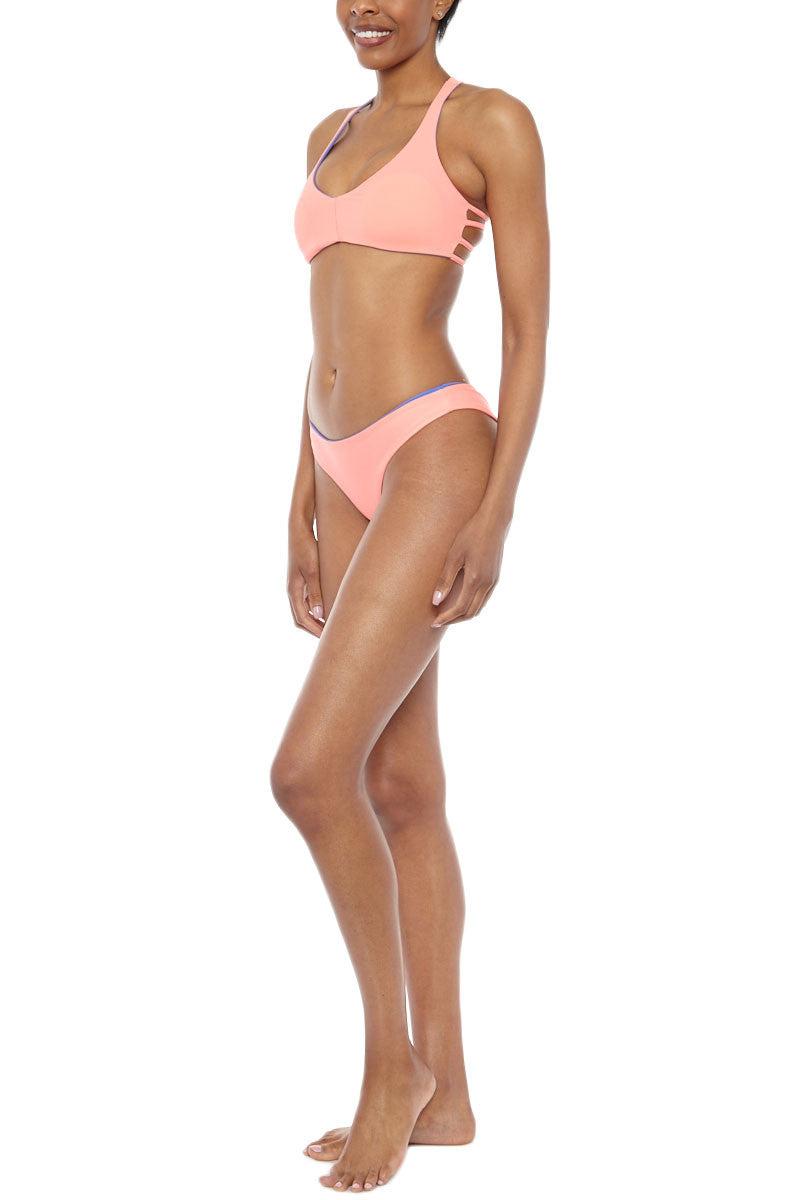 WATER GLAMOUR Jessie Reversible Cheeky Bikini Bottom - Sedona Blue/Coral Pink Bikini Bottom | Sedona Blue/Coral Pink| Water Glamour Jessie Reversible Cheeky Bikini Bottom - Sedona Blue/Coral Pink Reversible Cheeky coverage Double lined 80% Nylon, 20% Spandex Front View
