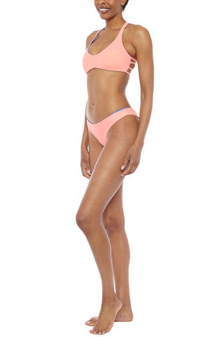 WATER GLAMOUR Skinny Jessie Reversible Cheeky Bottom Bikini Bottom | Sadona Blue/ Coral| Water Glamour Skinny Jessie Reversible Cheeky Bikini Bottom