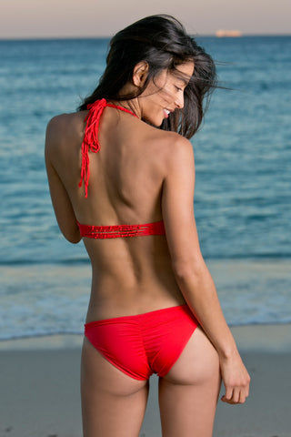 WATER GLAMOUR Knotted Halter Bikini Top - Hot Coral Red Bikini Top | Hot Coral Red| Water Glamour Knotted Halter Bikini Top - Hot Coral Red Halter style Adjustable Ties at neck 80% Nylon, 20% Lycra Spandex Back View