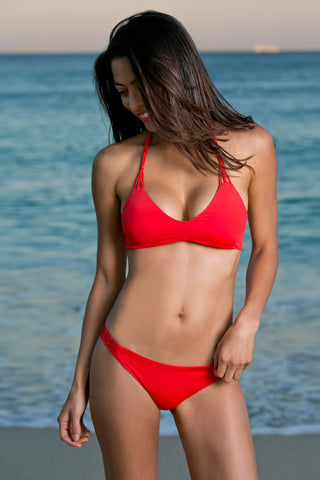 WATER GLAMOUR Knotted Halter Bikini Top - Hot Coral Red Bikini Top | Hot Coral Red| Water Glamour Knotted Halter Bikini Top - Hot Coral Red Halter style Adjustable Ties at neck 80% Nylon, 20% Lycra Spandex Front View