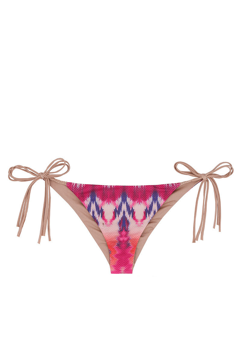WATER GLAMOUR Inyo Braid Reversible Tie Side Bottom Bikini Bottom | Berry Tie-Dye/Nude|